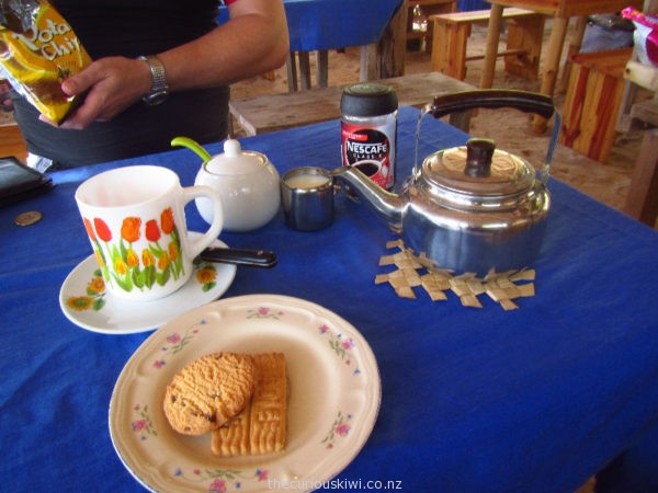 Coffee, biscuits and snacks at Mystery Island Cafe