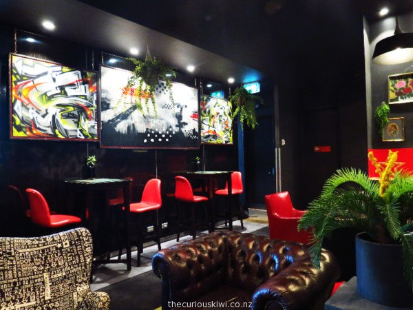 Lot 51 bar/cafe seating area at ibis Sydney King Street Wharf