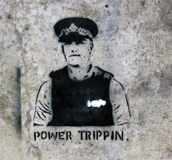 Power Trippin - Banksy-esque art work in Rotorua