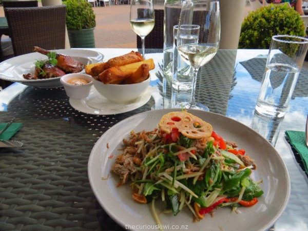 Coconut braised Thai duck salad, and roasted duck and chunky chips at Mills Reef Winery