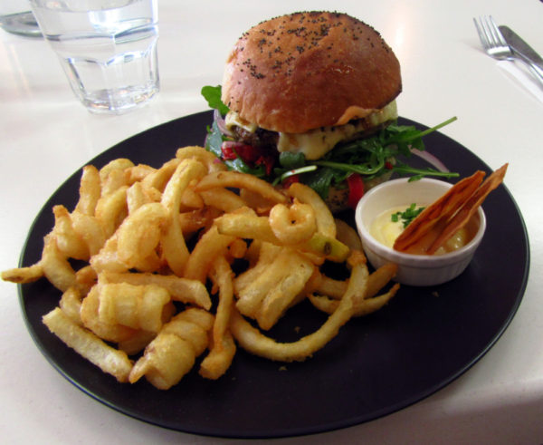Venison burger and curly fries at Scope