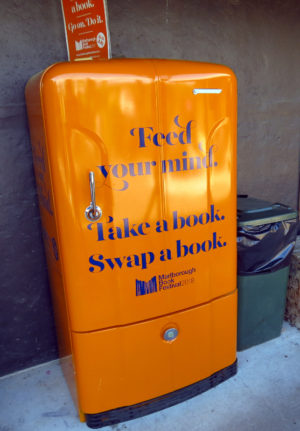 Book fridge at The Vines Village