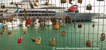 Love lock fence, Wynyard Quarter, Auckland