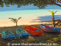 Kayaks on the beach at Stevenson's at Manase